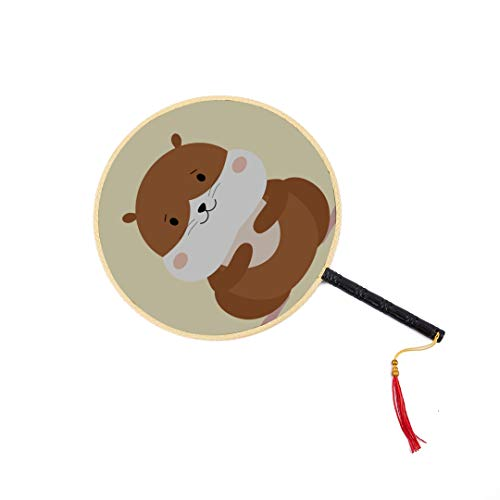 NIEbell Hungry Pets of Plush Hamsters Chinese Ancient Fan Classic Palace Paddle Fan Dance Fan Portable Hand Fan Best Hand Fan Hand Fans Bamboo Hand Fans with Handles