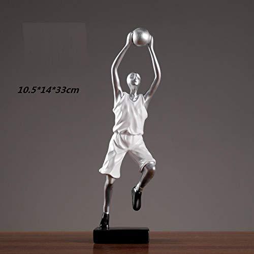 hacpigbb Jugador De Baloncesto Estatua Carácter Abstracto Artesanía Decoración del Hogar Regalo Pintado A Mano Dormitorio Adecuado Estudio Estudio Sala De Estar - Blanco