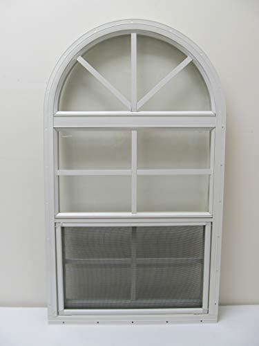 Arched Shed Playhouse Windows 18' x 36' White, Safety Glass Aluminum Frame