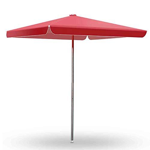 FACC Parasol Rectangular 250cm, Sombrillas Playa Barata, Sombrillas Grandes para Terraza, Tres Alturas Ajustables, Protección Impermeable Y Ultravioleta, para Balcón Jardín, Rojo
