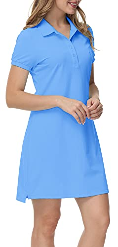 MoFiz Vestido de Polo Mujer Manga Corta Verano Algodón Trabajo Vestido Deportivo Tenis Golf Dress Azul Cielo M