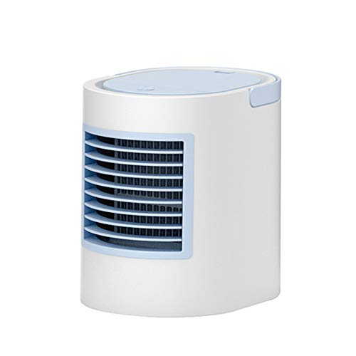 Portable Air Cooler, Mini Air Cooler Personal Air Conditional Humidifier with Colors LED Light 3 Speed Desktop Cooling Fan for Home, Office and Outdoor, USB Charging and Quiet,Blue