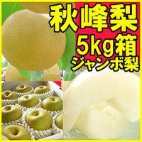 【ジャンボ秋峰梨】福島県産 かやば 梨 (約5kg箱約7〜12玉入) 1玉400g以上の大きな梨