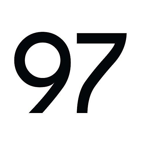 Zahlenaufkleber Nummer 97, schwarz, 30cm (300mm) hoch, Aufkleber mit Zahlen in vielen Farben + Höhen, wetterfest