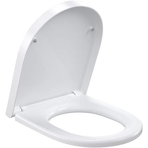 ROMISA Coperchio WC, sedile WC con funzione di abbassamento, funzione di sgancio rapido, facile fissaggio sopra e sotto, cerniere regolabili, forma O bianca (Resine urea-formaldeide, D)