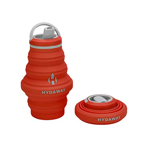 HYDAWAY Collapsible Water Bottle, 17oz Spout Lid | Ultra-Packable, Travel-Friendly, Food-Grade Silicone (Sunset)