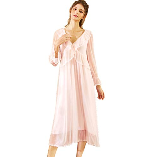 Nachthemd Damen lang, Langarm Nachthemd Spitze Vintage Viktorianischen Stil Nachthemd Sweet Loose Comfort Modal Langen Rock Sleepshirt