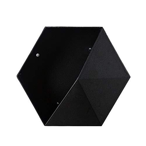AchidistviQ Macetero hexagonal para colgar en la pared, para decoración del hogar, oficina, color negro