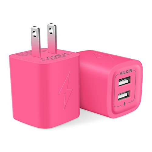 Wall Charger, AILKIN USB Plug Fast Charging Block, Power Adapter Cube 2 Port Charge Travel Brick Cell Quick Chargers Box for iPhone SE/11Pro Max/XS/XR Plus, Samsung Galaxy S7 S6, HTC, LG and More
