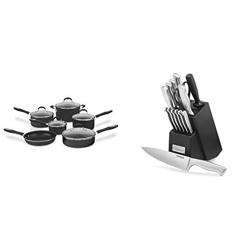 Cuisinart Advantage Nonstick 11-Piece Cookware Set, Black & C77SS-15PK 15-Piece Stainless Steel Hollow Handle Block Set