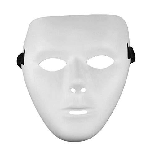 ZengBuks Cosplay Festival de Halloween Máscara Blanca PVC Party Toys Unique Full Face Dance Costume Mask para Hombres Mujeres para Regalo - Blanco