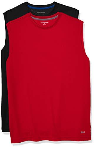 Amazon Essentials Men's 2-Pack Performance Tech Muscle Tank, Black/Red, Medium