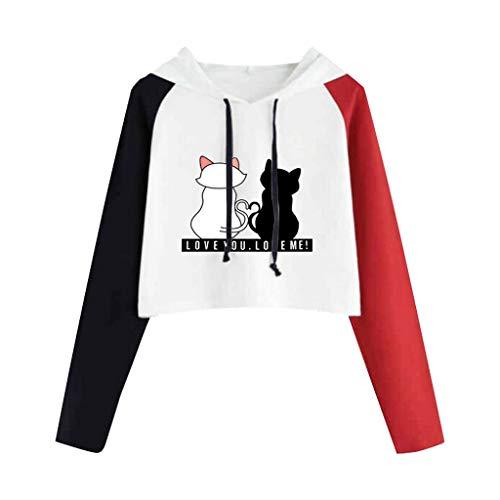 Fossen Sudaderas Mujer Tumblr Cortas Adolescentes Chicas - Casual Juveniles Camiseta con Capucha - Deportivo Tops de Estampada Gato