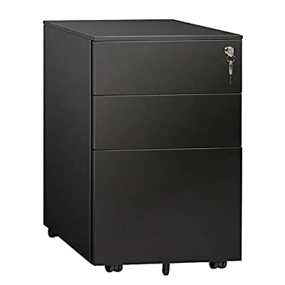 DEVAISE 3 Drawer Mobile File Cabinet, Lockable Metal Filing Cabinet for Legal/Letter/A4 Size, Fully Assembled Except Wheels