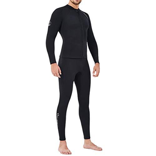 HOMELECT Trajes de neopreno de manga larga, trajes de buceo de 2 mm con cremallera frontal, dos piezas de cuerpo completo, para buceo, surf, natación, deportes acuáticos, color negro (hombres), XXL