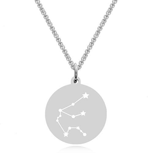 Timando Damen Kette Sternbild Wassermann mit Gravur Sternzeichen Plättchen Anhänger Edelstahl
