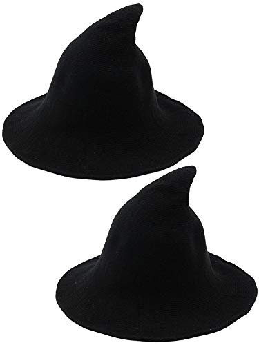 Trounistro 2 Pack Halloween Witch Hat Wool Witch Hat Warm Winter Hats for Women Foldable Large Brim Crochet Cap Halloween Party Accessory (Style 1) Black