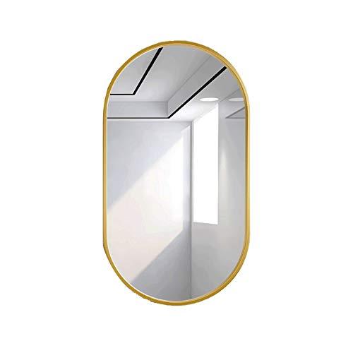 XWW Espejo De Baño para Colgar En La Pared, Espejo Decorativo Simple, para Sala De Estar, Entrada, Pasillo, Ovalado, Blanco, Dorado