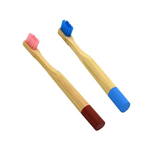 YeahiBaby Cepillo de Dientes de Bambú Natural Respetuoso del Medio Ambiente de Madera Biodegradable con Manija Agitada para Nino 2 Piezas Azul y Rosa