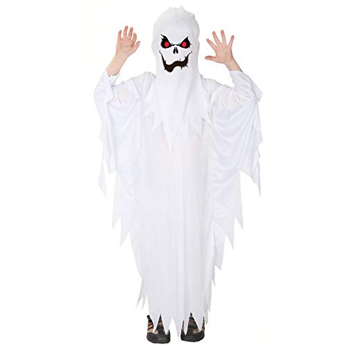 Toddler Kid Baby Girls Boys Halloween Costumes White Ghost Cloak Tassel Cape Cosplay with Hat Outfits 4-12 Years