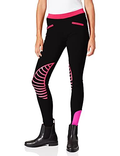 HKM Pantaloni da equitazione Leggings Starlight Donna, Nero/rosa, 42