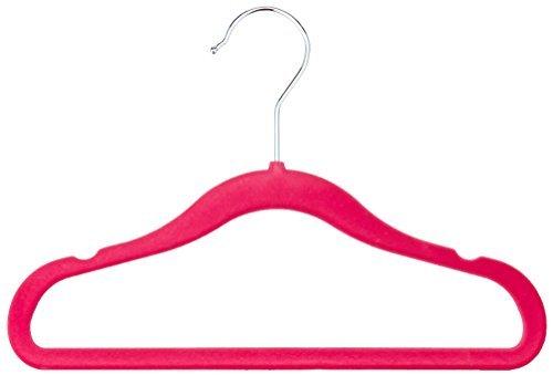 Amazon Basics Kinderkleiderbügel mit Samtbezug, 30er Pack, Rosa