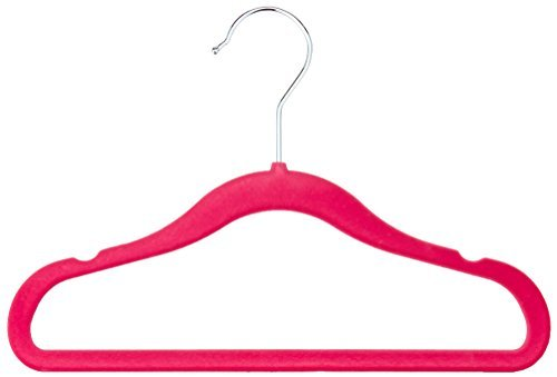 AmazonBasics Kinderkleiderbügel mit Samtbezug, 30er Pack, Rosa
