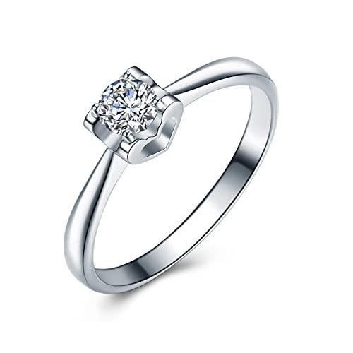Aeici Alianzas Matrimonio 0.1ct Redonda Diamante, Anillo Oro blanco 18k para Mujeres, Tamaño 16