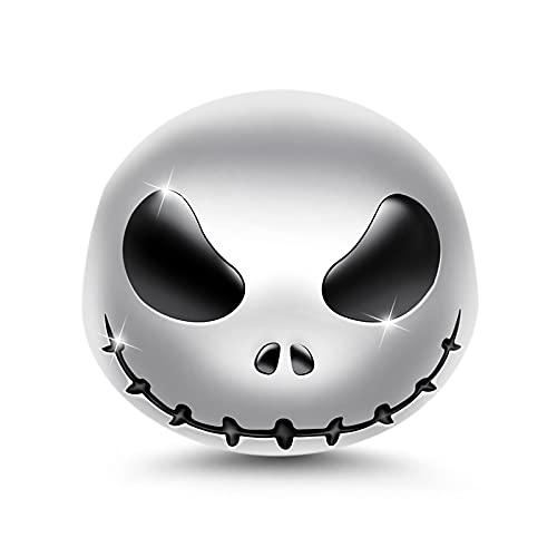 GNOCE Jack Skull Charm Pendants 925 Sterling Silver Beads Charms Jewelry para todas las pulseras Collares Regalos de Halloween para mujeres y niñas
