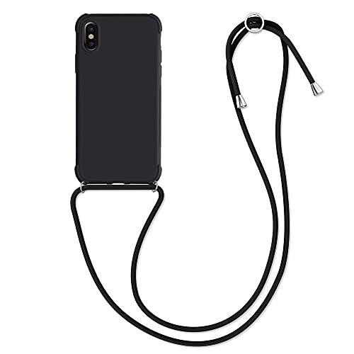 kwmobile Cover a Tracolla Compatibile con Apple iPhone X - Back Case in TPU Cover con Laccio per Il Collo - Custodia con Cordino