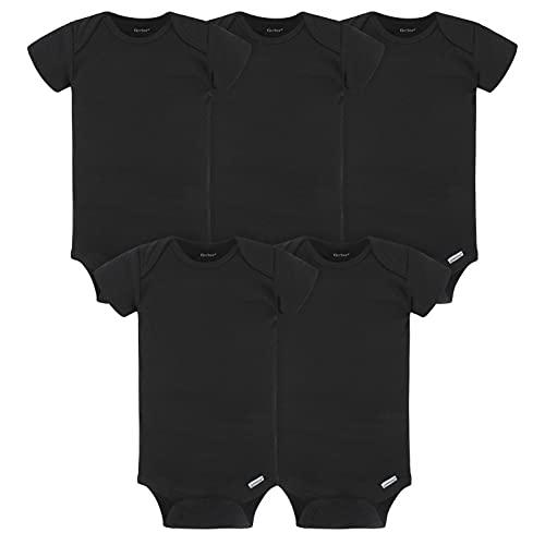 Gerber Baby 5-Pack Solid Onesies Bodysuits, Black, 0-3 Months