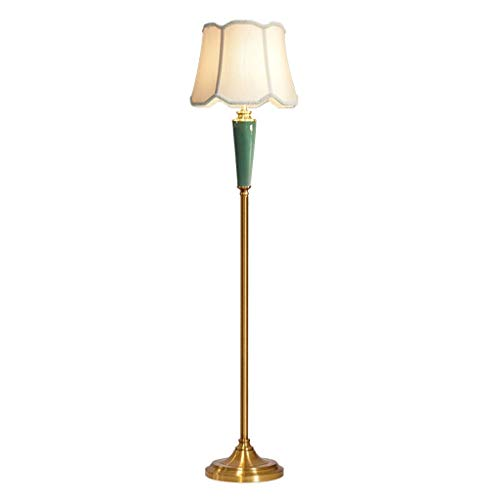 Xu Yuan Jia-Shop Lámpara de Suelo Lámpara de pie de cerámica Retro Salón Dormitorio Estudio Lámpara de pie Control Remoto/Interruptor de pie Dormitorio y Estudio (Color : Foot Switch)
