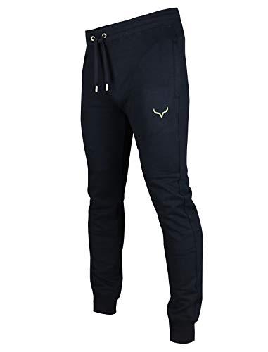 Screenshot SPORTS-A4051 Mens Premium Slim Fleece Pants Zipper Pockets - Athletic Jogger Fitness Workout Gym Sweatpants-Black/Neon-Medium
