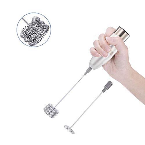 Elektrische Handheld melkopschuimer Foamer Klopper van het Ei dubbele veer Triple Spring Whisk Head RVS Drink Mixer Koffie Mak