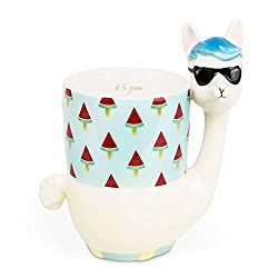el & groove 3D Lama Wassermelonen EIS, Kaffeetasse 400 ml, Tee-Tasse aus Porzellan, Alpaka Tasse, Büro, Lama Deko, Alpaka Deko, Becher, Peru, Relax Anti Stress Tasse groß, Geschenk Weihnacht
