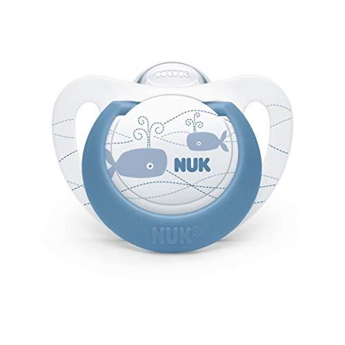 NUK ヌーク おしゃぶり キャップ付 [手指なめ 防止に] きれいな歯並びのために ジーニアス クジラ 新生児 0-6ヵ月 0か月~ OCNK40101233