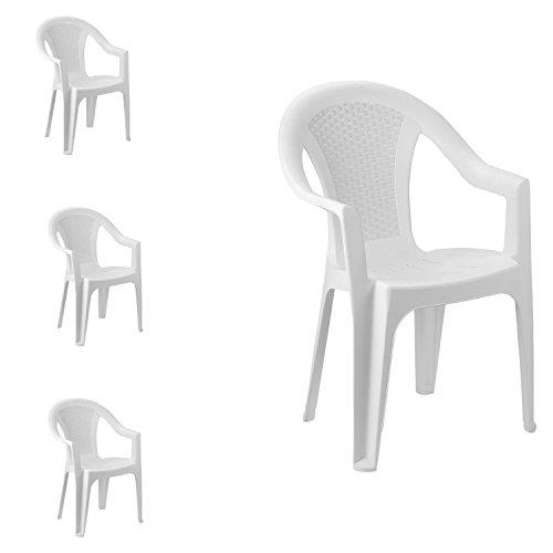 FineHome Set van 4 tuinstoelen, stapelstoel, bistrostoel, tuinstoel, stapelbaar, balkonmeubelen, tuinmeubelen, wit, kunststof rotan look