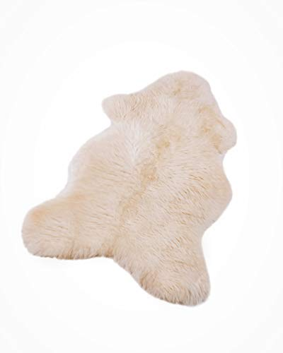 Schafshaut Store: 100% Schaffell/Öko Lammfell Schaffell,Naturprodukt XXXL Weich und flauschig ideal für das Kinderzimmer/Schlaffzimmer/Wohnzimmer.(Weiß, XXXL: 130-140 cm)