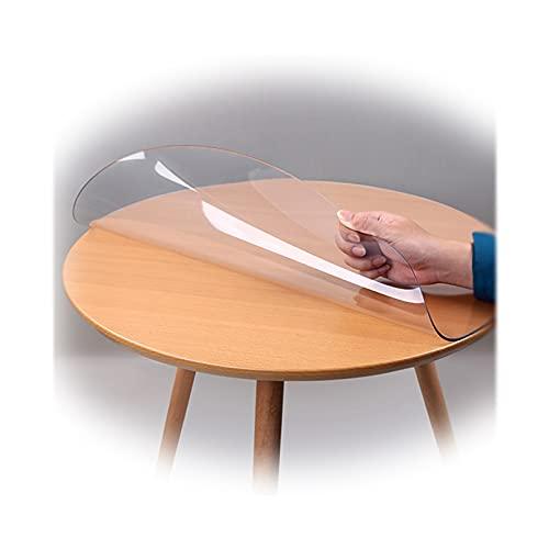 LMDX Mantel Transparente para Mesa Ronda, Impermeable PVC Manteles, 2mm Espesor, Protector De Mesa para Cocina/Jardin, Sin Olor, Anti-Quemaduras Almohadillas De Escritorio