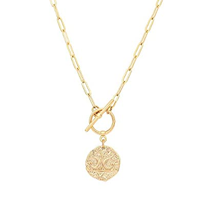 Moon and Star Medallion Pendant Necklace 18k Gold Oval Link Chain Choker Large Celestial Charm Layering Jewelry 20''