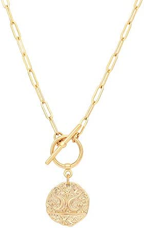 Moon and Star Medallion Pendant Necklace 18k Gold Oval Link Chain Choker Large Celestial Charm product image