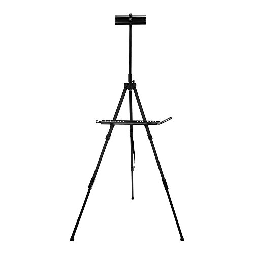 SoHo Urban Artist Watercolor Field Easel - Portable Ultra-Lightweight Easel for Painting Canvases, Whiteboard Frame Holder, Adjustable Height, Anodized Aluminum Tripod Stand (Black)