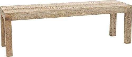 Kare Design Bank Puro 140cm, Esszimmerbank verziert mit handgeschnitzten Ornamenten, moderner Holzbank aus hochwertigem Mango Echtholz mit liebevollen Details, (H/B/T) 45x140x40cm, Andere, Braun
