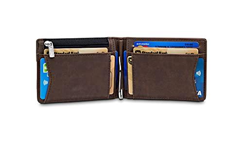 """TRAVANDO Portafoglio uomo piccolo con protezione RFID """"VIENNA"""" Porta carte di credito con clip per contanti, Portafogli Porta tessere slim tascabile, Portatessere Raccoglitore banconote"""