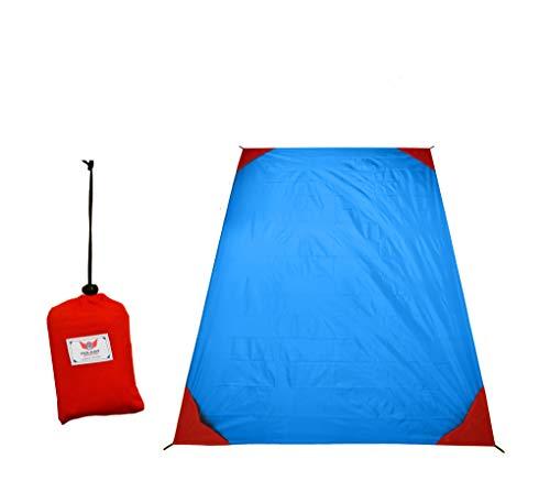 polaar Outdoor-, Picknickdecke und Stranddecke, Wasserdicht, Ultraleicht, für bis zu 4 Personen, mit Heringen - Ideal für den Park, Reise und Camping (200 x 150 cm (XL), blau/rot, ohne Heringe)
