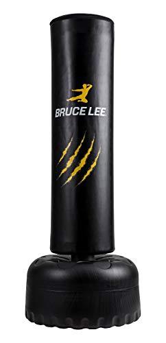 Bruce Lee Sacco da Boxe da Terra Professionale per Adulti - Riempi con sabbia - Punch Bag / Kick Boxing / Arti Marziali / MMA - Nero