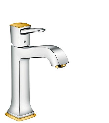 hansgrohe Wasserhahn Metropol Classic (Armatur mit Auslauf Höhe 160 mm, mit Zugstangen-Ablaufgarnitur) Chrom/Gold-Optik