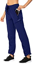 MOCOLY Women's Hiking Cargo Pants Elastic Waist Quick Dry Lightweight Water Resistant Travel Long Pants UPF SPF 50+ Navy XL
