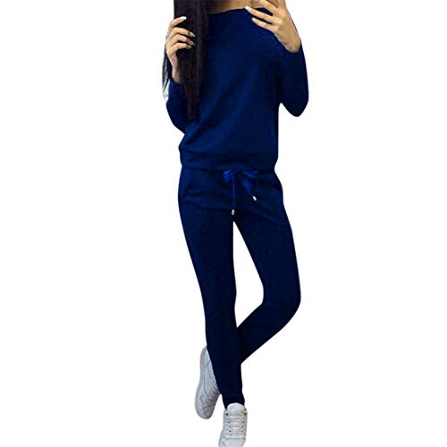 heavKin-Autumn 2Pcs Women Tracksuit Casual Solid Color Slim Pullover Sports Tops+Elastic Band Pants Sets (Blue, XL-Bust:102cm/40.1')