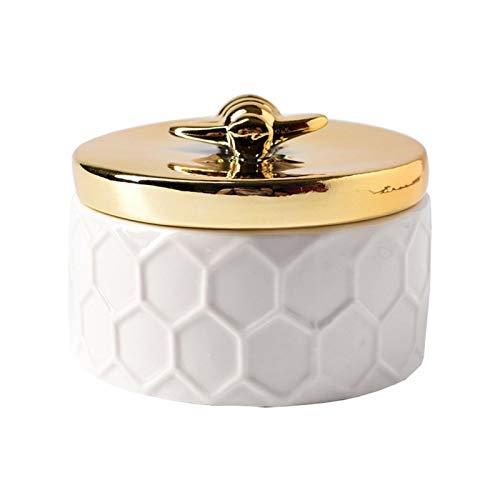 FDKJOK Joyero de cerámica con tapa de abeja dorada, organizador de joyas pequeño, contenedor de almacenamiento para decoración del hogar, regalo para niñas y mujeres (tamaño: S)